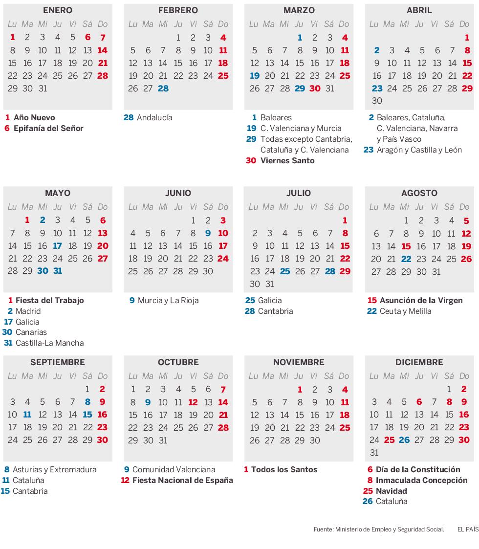 Calendario laboral para 2018 actualidad el pas festivos de carcter nacional y fiestas en todas las comunidades espaolas thecheapjerseys Image collections