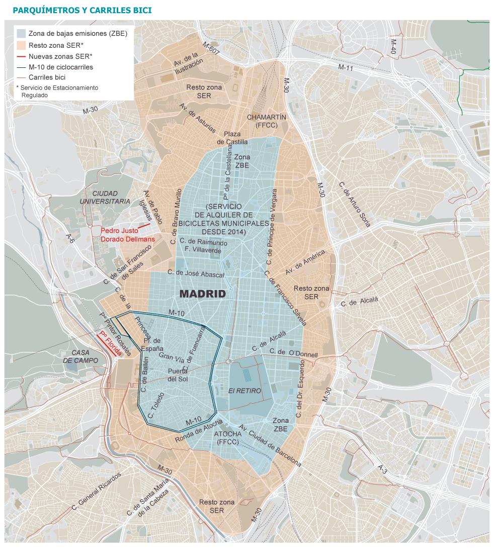 Mapa Zona Azul Y Verde Madrid.Los Parquimetros Se Extienden Por Ciudad Universitaria Y
