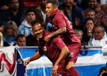 Rondón baila en la alfombra de Messi