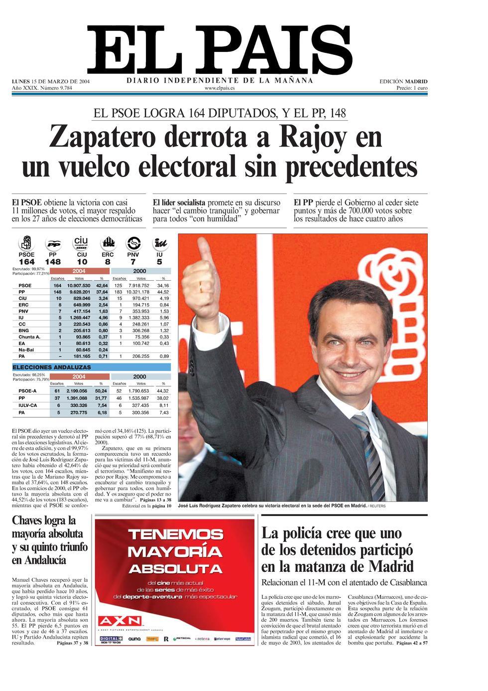 Resultado de imagen de zapatero elecciones 2004