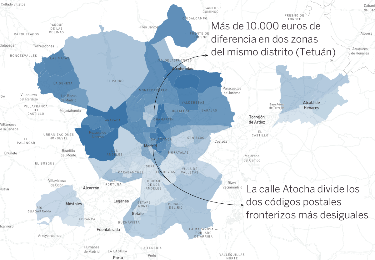 La desigualdad va por código postal: el mapa de 33 ciudades