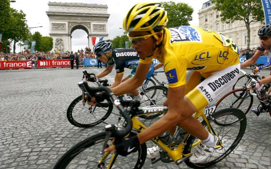 Alberto Contador, now banned for doping, on his way to victory in the final stage of the 2007 Tour de France.