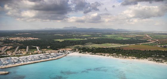An aerial view of the coast of Sa Ràpita, in Mallorca, where a construction project has angered residents and environmentalists.