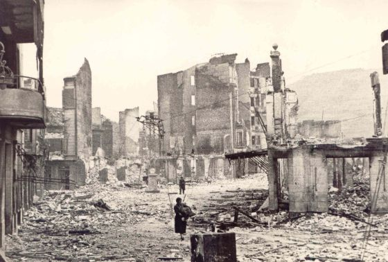 The Basque city of Gernika after it was bombed by German and Italian planes.