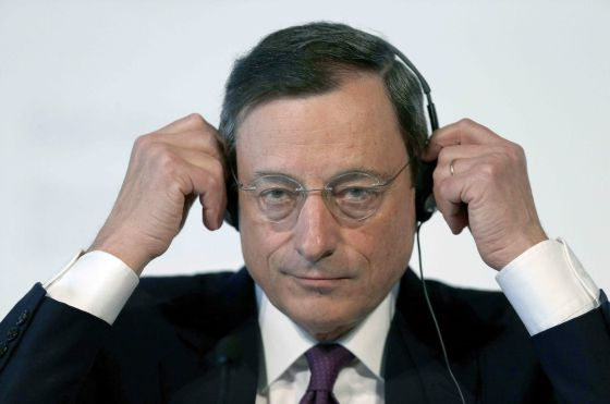ECB President Mario Draghi at the press conference he held in Barcelona on Thursday.