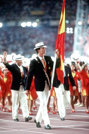 Prince Felipe, who participated in a sailing event, sports the Spain team's 1992 outfits at Barcelona.