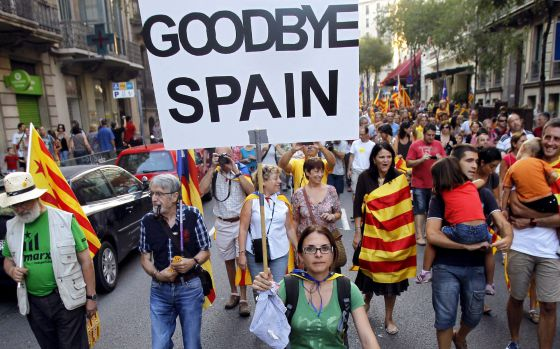 A scene from Tuesday's massive march in Barcelona.
