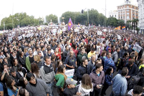 Protestors marching near Congress in Madrid on Sunday.