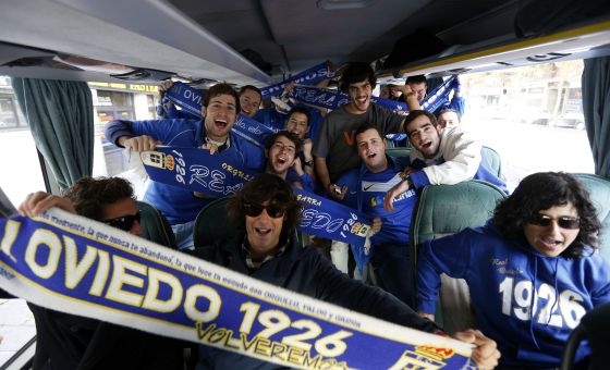 Members of the Peña Azul Oviedo fan club on their way to last weekend's match against Atlético Madrid B.