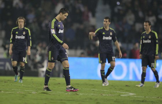 Cristiano Ronaldo and teammates react to going 2-0 down at Celta Vigo on Wednesday night.