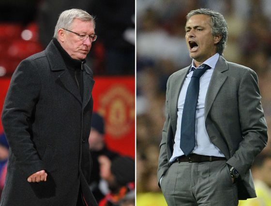 Alex Ferguson (l) and José Mourinho.