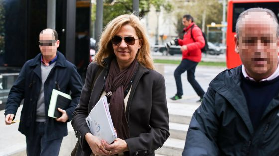 Princess Cristina arrives at her place of work in Barcelona on Friday morning.