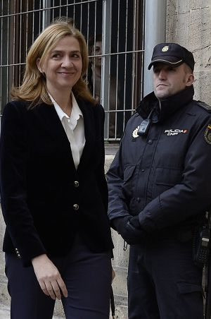 Princess Cristina outside the Palma de Mallorca courthouse on February 8.