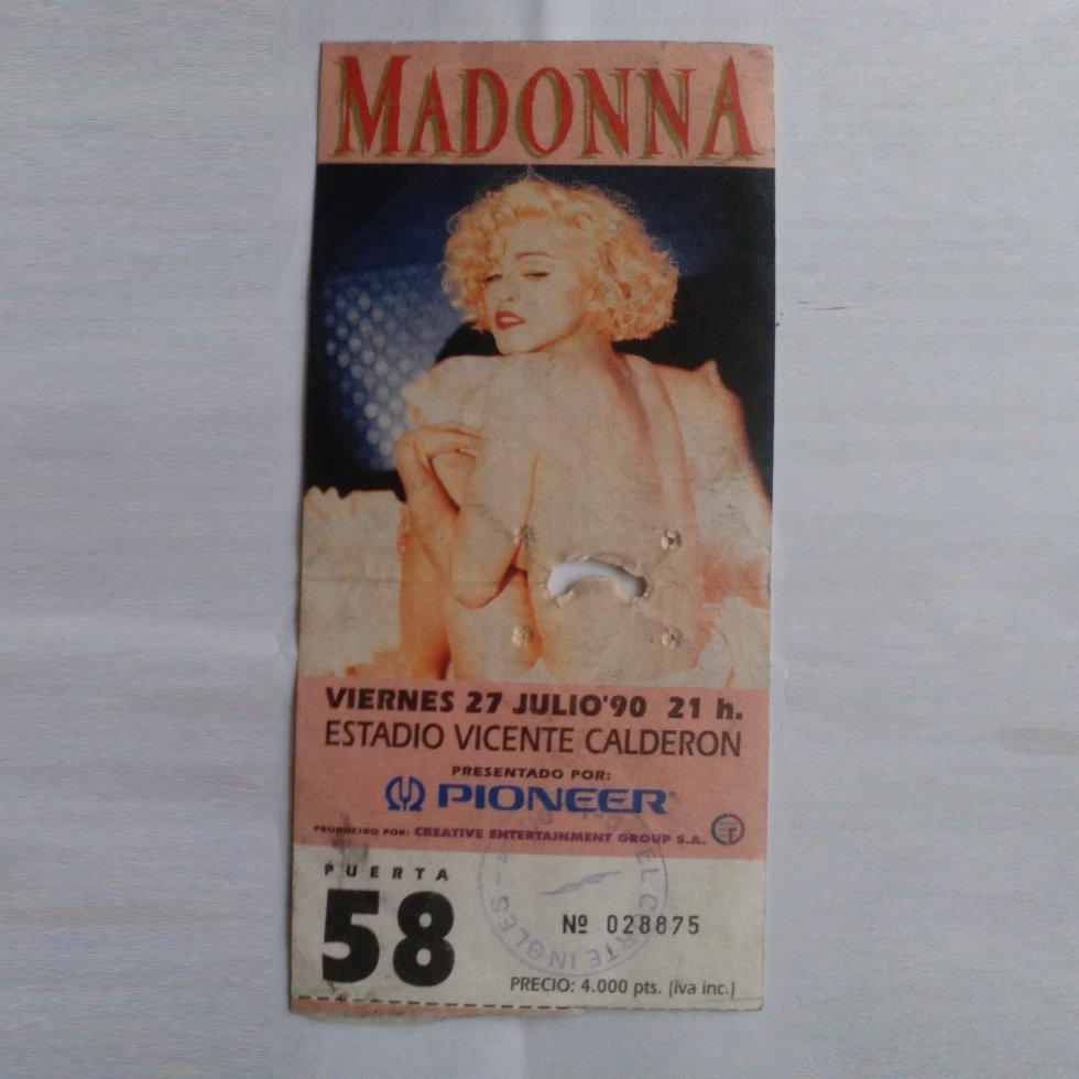 Entrada para el concierto de Madonna en 1990