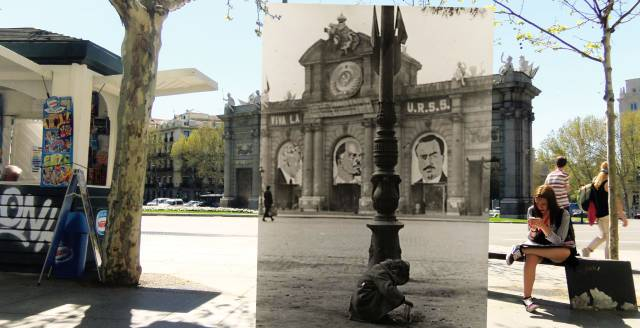 Fitting Civil War photos into images of modern-day Madrid