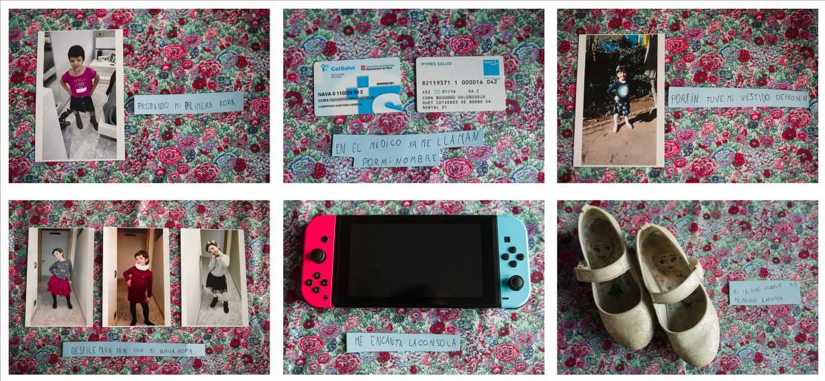 Fotos que guarda la niña de momentos importantes de su vida con las etiquetas que los describen, escritas por ella. GABO CARUSO