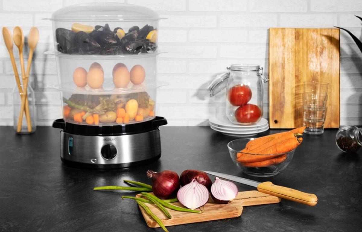 Tres platos en uno: cocina en casa sano, rápido y sin manchar con esta vaporera eléctrica de tres pisos