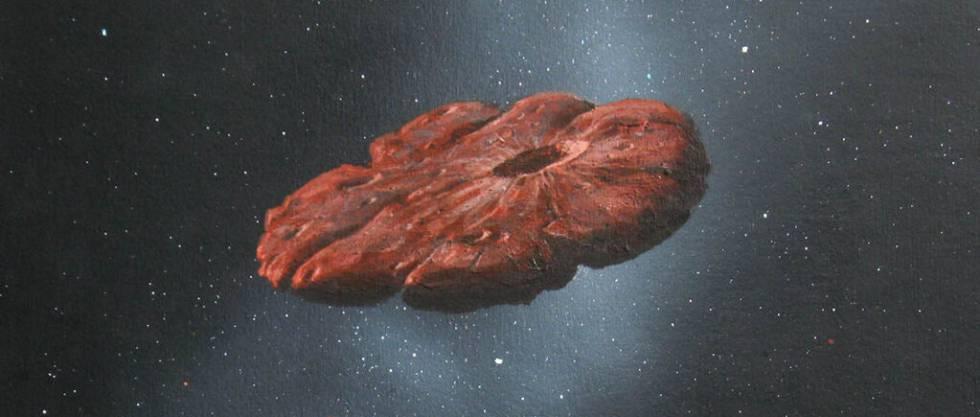 Interpretación artística de Oumuamua.