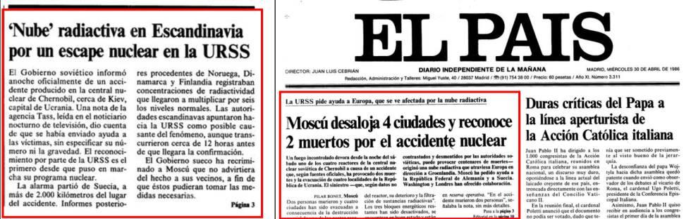 Noticia de la primera página del 29 de abril de 1986 y primera del día siguiente.