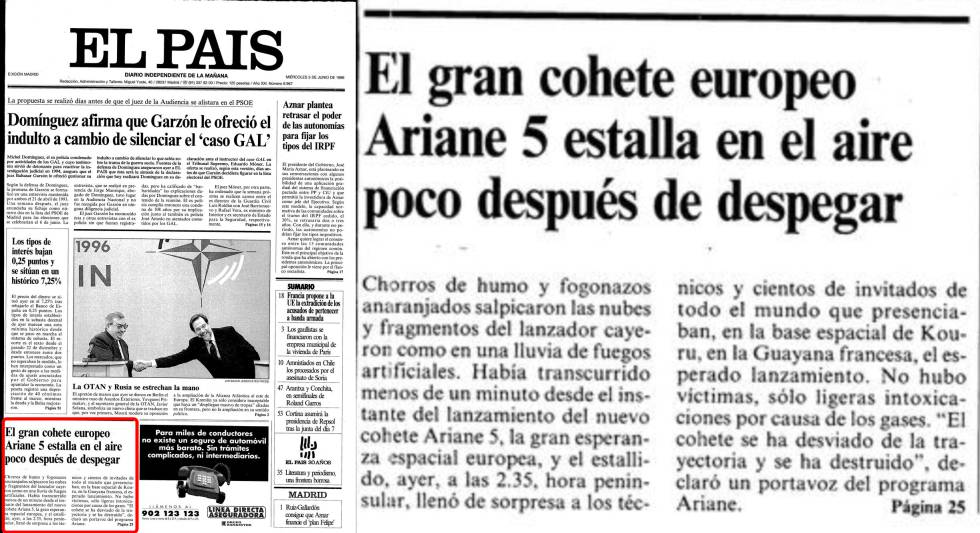 Primera página del 5 de junio de 1996 y detalle del Ariane 5.