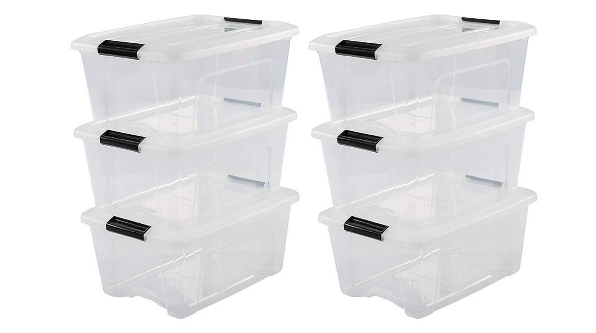 Lote de seis cajas apilables transparentes por 28,89 €