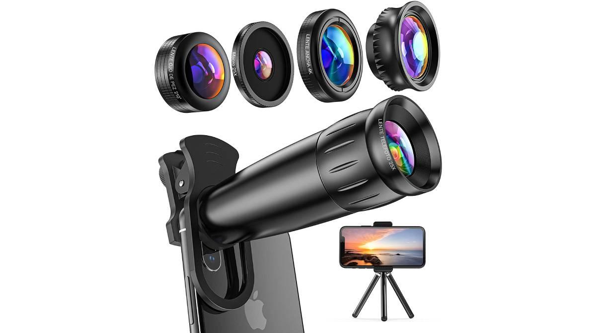 Kit de lentes con trípode para el móvil por 17,99 €