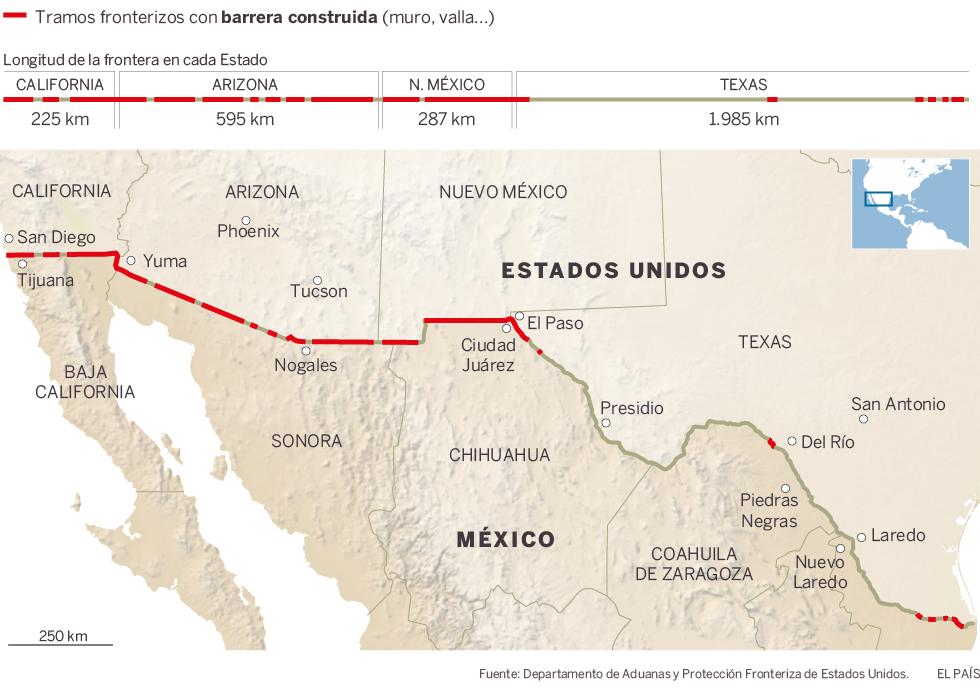 El muro de Trump La frontera entre Estados Unidos y M xico – Map Usa Y Mexico