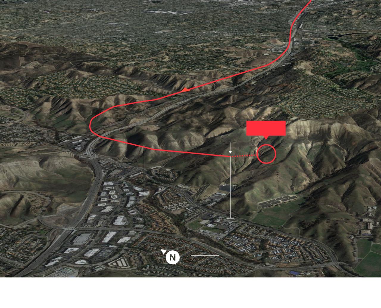 Recorrido  del helicóptero  Calabasas  Último  contacto  Impacto  414 metros  271 metros  Malibu Creek  El Encanto  250 m  Fuente: Departamento del Sherif del condado de Los Ángeles y Flightradar.