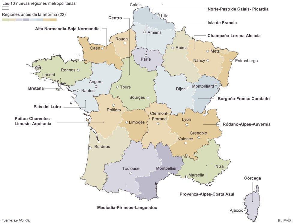 Mapa Politico De Francia 2019.Francia Reduce De 22 A 13 El Numero De Regiones Para