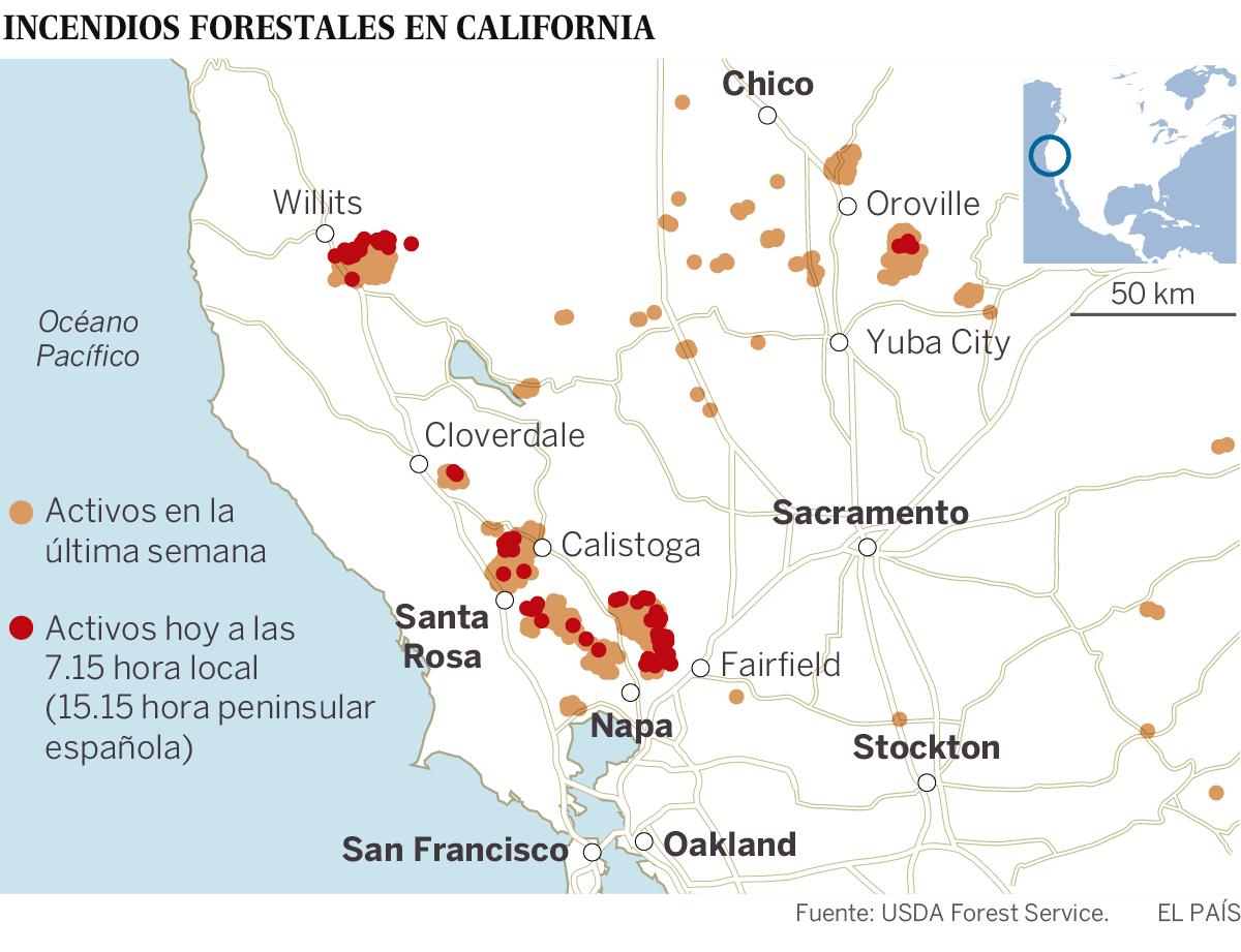 Al Menos Muertos Y Más De Evacuados Por Los Incendios En - Mapa de california usa